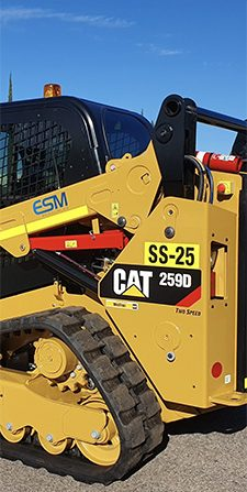 A CAT skid steers in the ESM resources yard in Perth ready for hire.