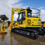 A komatsu excavator for hire in the Pilbara Western Australia.