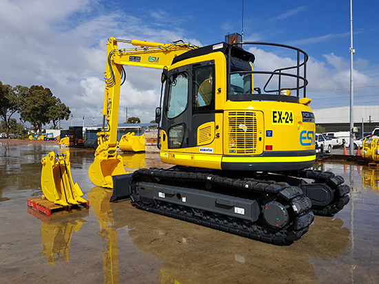 A near new komatsu excavator ready to be transported to a mine site.