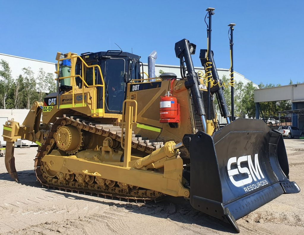 A dozer for hire in the ESM yard; clean and ready to go.