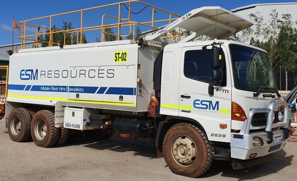 A water truck for hire in the ESM resources head quarters.