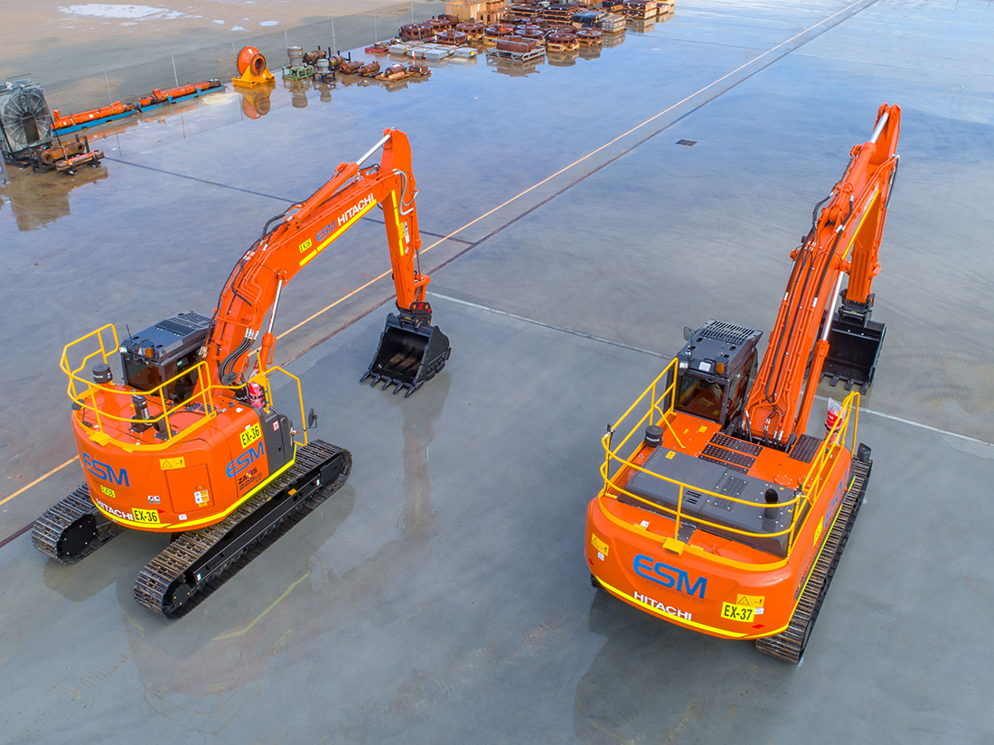 Two hitachi hydraulic excavators in the ESM Resources yard.