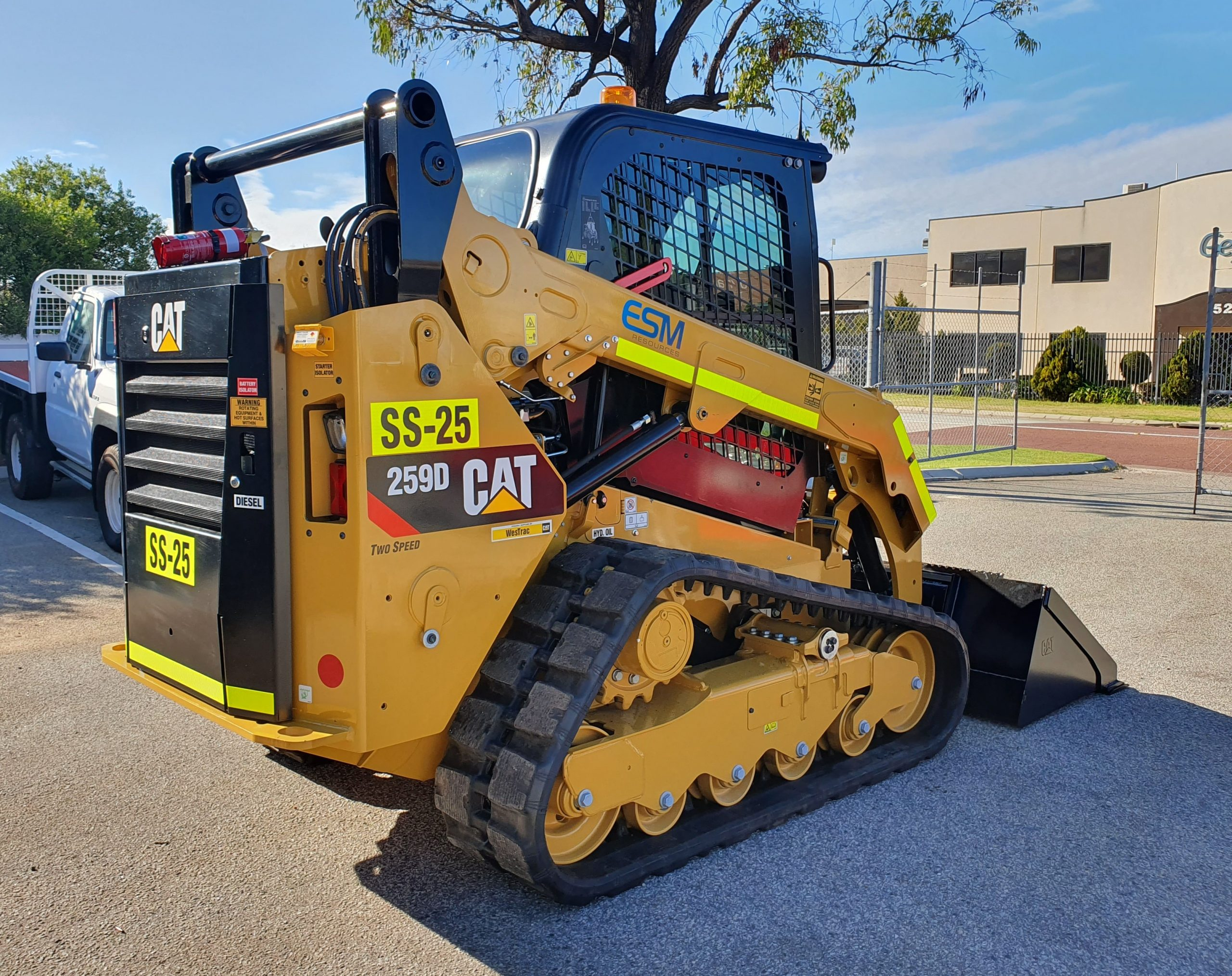 A new skid steer bobcat ready for deployment.