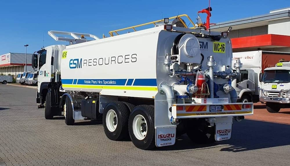 A new water truck ready to aid in dust reduction.